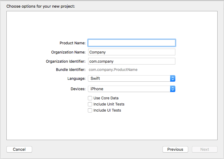Xcode new project options