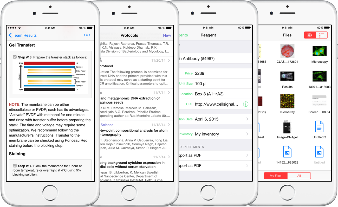Hivebench on iPhone: Experiments, Protocols, Reagents, and Data