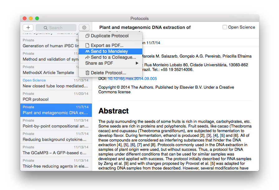 Send to Mendeley on Mac, part 1