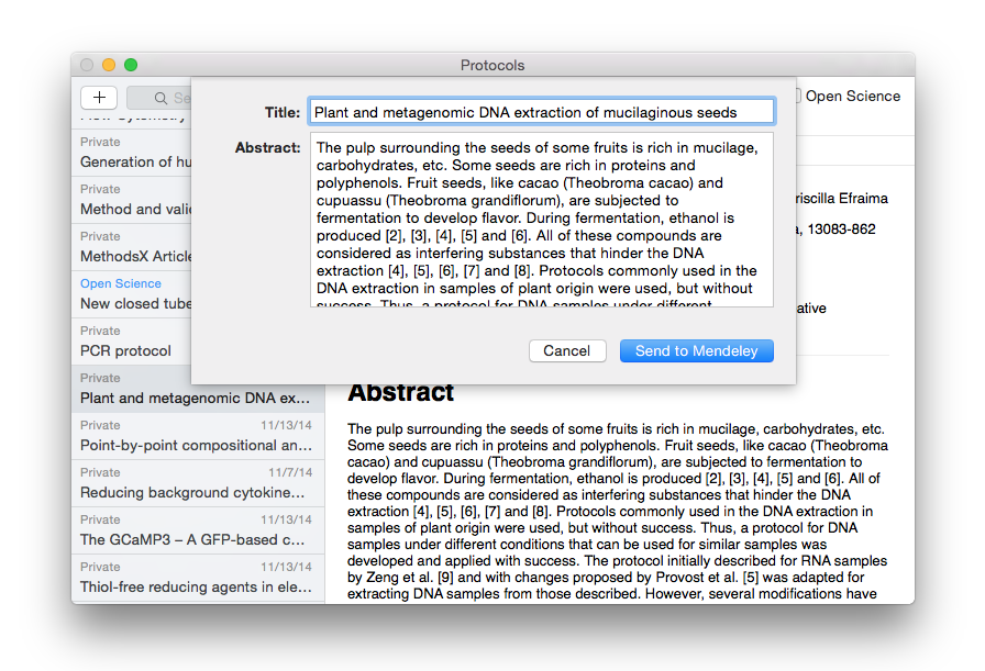 Send to Mendeley on Mac, part 2
