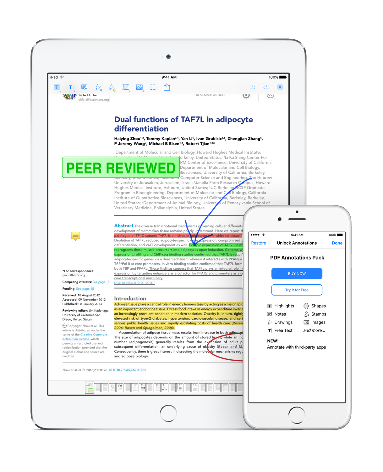 PDF annotations with PaperShip on iPhone and iPad
